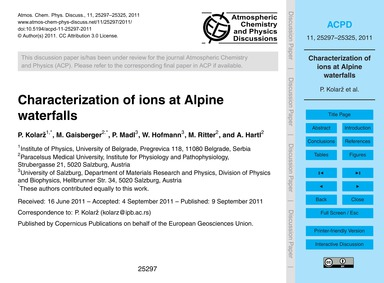Characterization of Ions at Alpine Water... by Kolarž, P.