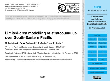 Limited-area Modelling of Stratocumulus ... by Andrejczuk, M.