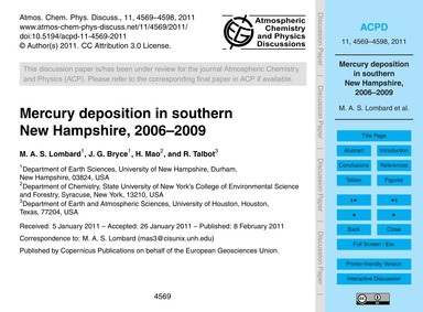 Mercury Deposition in Southern New Hamps... by Lombard, M. A. S.