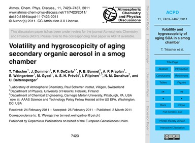 Volatility and Hygroscopicity of Aging S... by Tritscher, T.