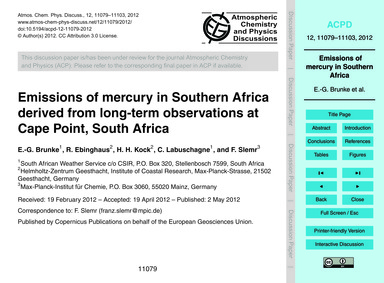 Emissions of Mercury in Southern Africa ... by Brunke, E.-g.
