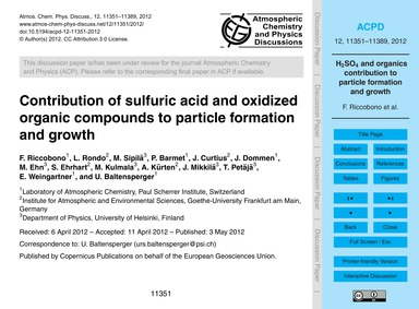 Contribution of Sulfuric Acid and Oxidiz... by Riccobono, F.