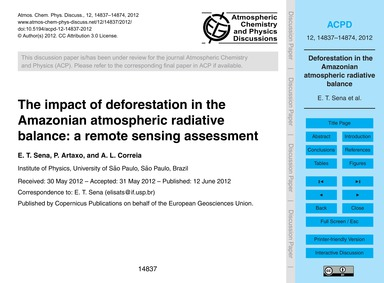 The Impact of Deforestation in the Amazo... by Sena, E. T.
