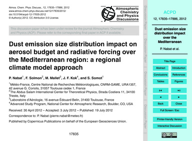 Dust Emission Size Distribution Impact o... by Nabat, P.