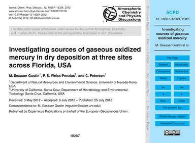 Investigating Sources of Gaseous Oxidize... by Sexauer Gustin, M.