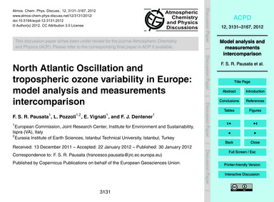 North Atlantic Oscillation and Troposphe... by Pausata, F. S. R.