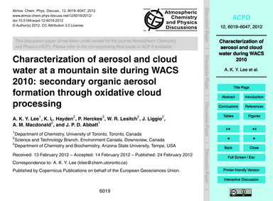 Characterization of Aerosol and Cloud Wa... by Lee, A. K. Y.