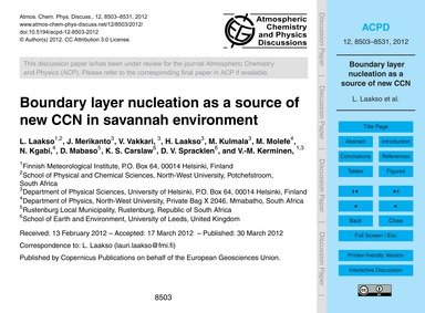 Boundary Layer Nucleation as a Source of... by Laakso, L.