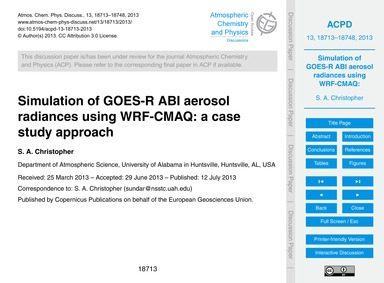 Simulation of Goes-r Abi Aerosol Radianc... by Christopher, S. A.