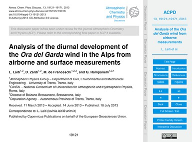 Analysis of the Diurnal Development of t... by Laiti, L.