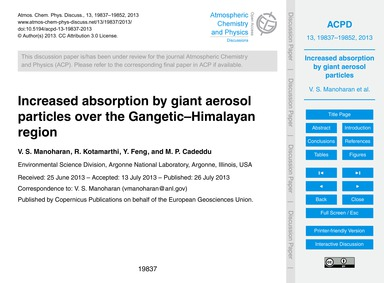 Increased Absorption by Giant Aerosol Pa... by Manoharan, V. S.