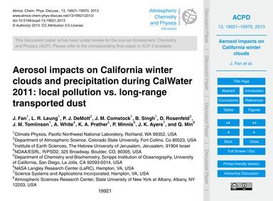 Aerosol Impacts on California Winter Clo... by Fan, J.