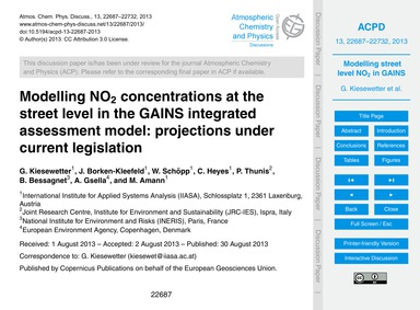 Modelling No2 Concentrations at the Stre... by Kiesewetter, G.