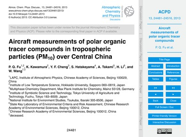 Aircraft Measurements of Polar Organic T... by Fu, P. Q.
