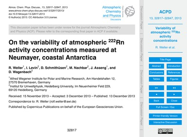 On the Variability of Atmospheric 222Rn ... by Weller, R.