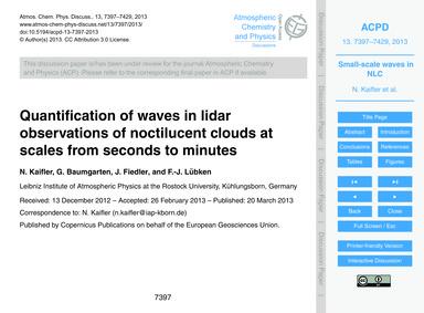 Quantification of Waves in Lidar Observa... by Kaifler, N.