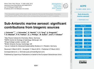 Sub-antarctic Marine Aerosol: Significan... by Schmale, J.