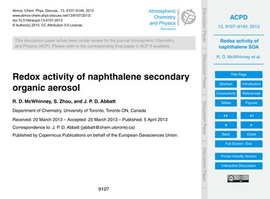 Redox Activity of Naphthalene Secondary ... by McWhinney, R. D.