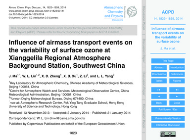 Influence of Airmass Transport Events on... by Ma, J.