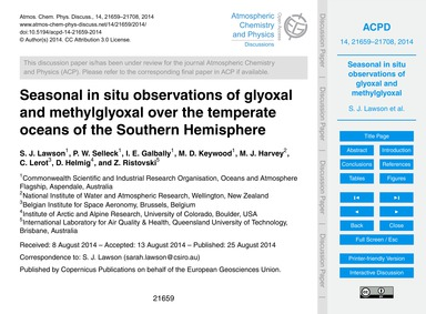 Seasonal in Situ Observations of Glyoxal... by Lawson, S. J.