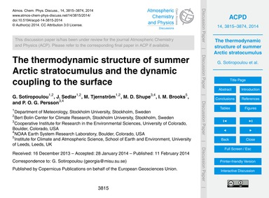 The Thermodynamic Structure of Summer Ar... by Sotiropoulou, G.