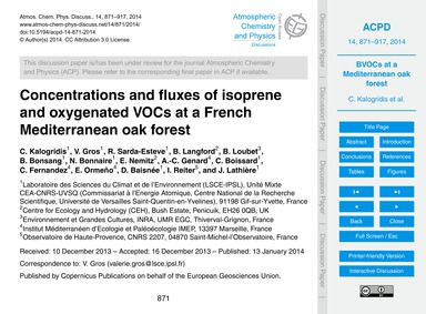 Concentrations and Fluxes of Isoprene an... by Kalogridis, C.