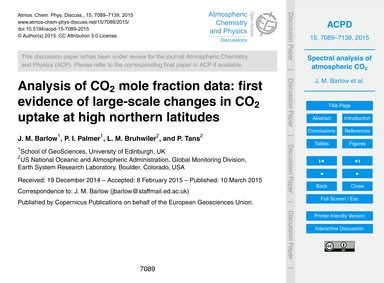 Analysis of Co2 Mole Fraction Data: Firs... by Barlow, J. M.