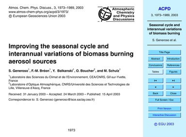 Improving the Seasonal Cycle and Interan... by Generoso, S.