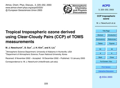 Tropical Tropospheric Ozone Derived Usin... by Newchurch, M. J.