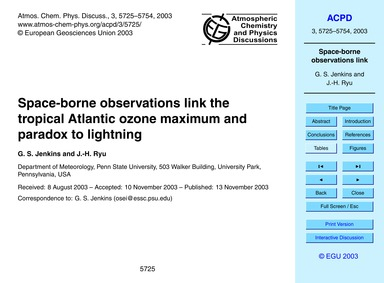Space-borne Observations Link the Tropic... by Jenkins, G. S.