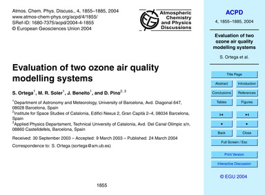 Evaluation of Two Ozone Air Quality Mode... by Ortega, S.
