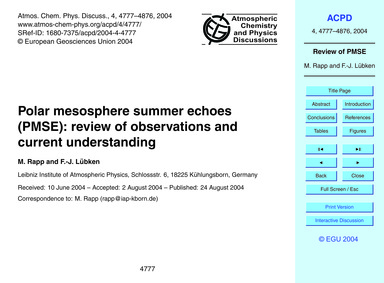 Polar Mesosphere Summer Echoes (Pmse): R... by Rapp, M.