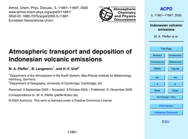 Atmospheric Transport and Deposition of ... by Pfeffer, M. A.