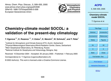 Chemistry-climate Model Socol: a Validat... by Egorova, T.