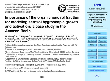 Importance of the Organic Aerosol Fracti... by Mircea, M.