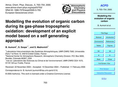 Modelling the Evolution of Organic Carbo... by Aumont, B.