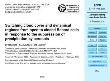 Switching Cloud Cover and Dynamical Regi... by Rosenfeld, D.