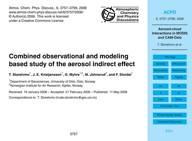 Combined Observational and Modeling Base... by Storelvmo, T.