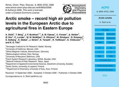 Arctic Smoke – Record High Air Pollution... by Stohl, A.