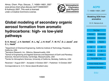 Global Modeling of Secondary Organic Aer... by Henze, D. K.