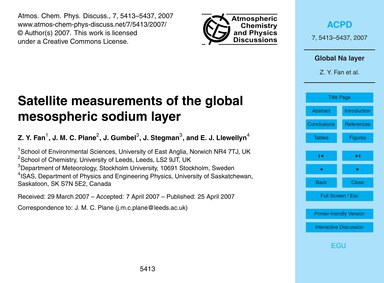 Satellite Measurements of the Global Mes... by Fan, Z. Y.