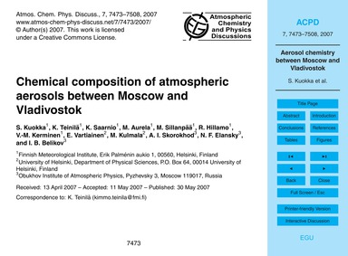 Chemical Composition of Atmospheric Aero... by Kuokka, S.