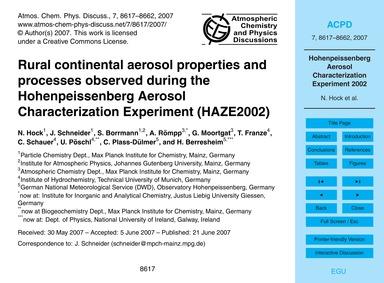 Rural Continental Aerosol Properties and... by Hock, N.