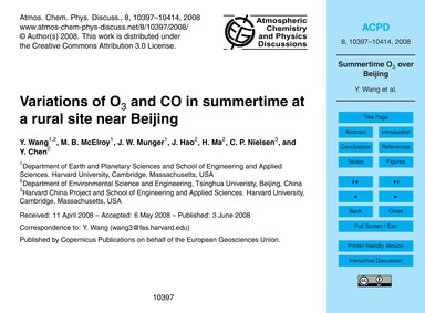 Variations of O3 and Co in Summertime at... by Wang, Y.