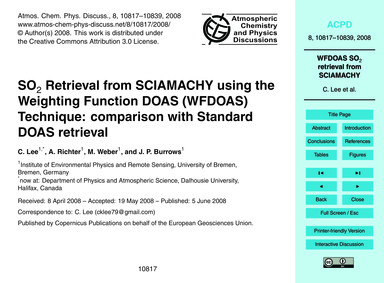 So2 Retrieval from Sciamachy Using the W... by Lee, C.