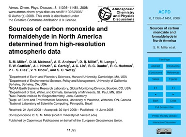 Sources of Carbon Monoxide and Formaldeh... by Miller, S. M.