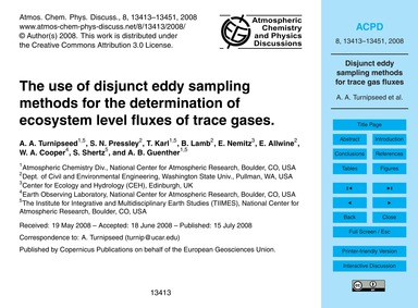 The Use of Disjunct Eddy Sampling Method... by Turnipseed, A. A.