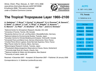 The Tropical Tropopause Layer 1960–2100 ... by Gettelman, A.