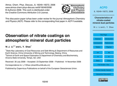 Observation of Nitrate Coatings on Atmos... by Li, W. J.