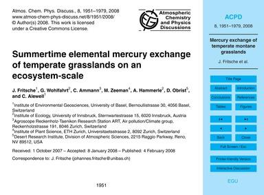 Summertime Elemental Mercury Exchange of... by Fritsche, J.